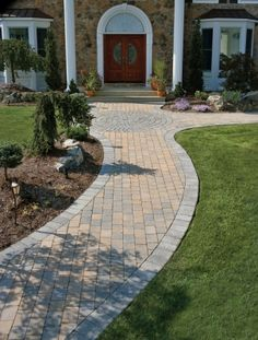 Custom front walkway design and hardscaping in Bucks and Montgomery County - pavers, brick patterns, and privacy landscaping for pool walkways-patios. Front Yard Garden Design, Small Front Yard Landscaping, Outdoor Landscaping, Patio Design, Landscaping Ideas, Pavers Ideas, Walkway Ideas, Pool Ideas, Yard Ideas