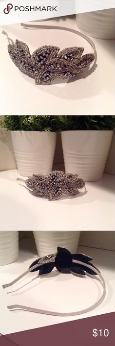Amazing beaded headband! Super sparkles and just a super nice statement piece. Dark grey, silver and crystal beading. Silver wrapping on the headband. Accessories Hair Accessories