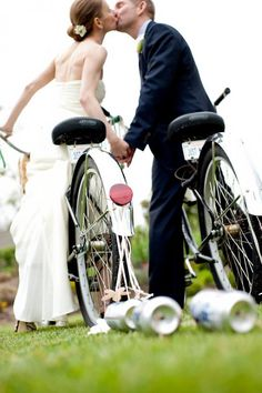 Have bride and groom ride away on bicycles :)