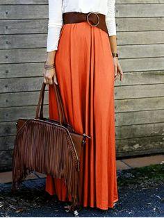 Solid Color High Waisted Long Skirt - Orange M