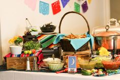 Soft Taco Bar Toppings for a Fiesta Themed Party.