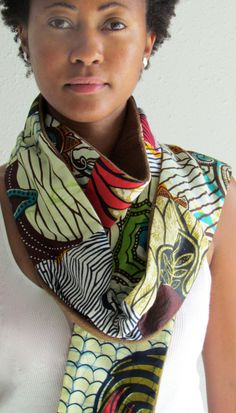 African print scarf...loving the colors! ~Latest African Fashion, African Prints, African fashion styles, African clothing, Nigerian style, Ghanaian fashion, African women dresses, African Bags, African shoes, Nigerian fashion, Ankara, Kitenge, Aso okè, Kenté, brocade. ~DK