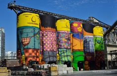 The towering mural is the work of two influential Brazilian graffiti artists.