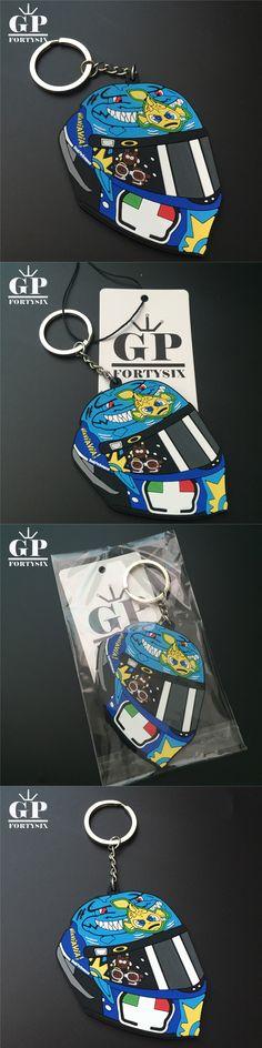 GPFORTYSIX MOTOGP VR46 Rossi Helmet keychain 3D Shark PVC Rubber Keyring for Valentino Rossi 46 The Doctor Motorcycle Key Rings
