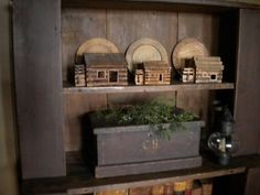 Prim Log Cabin Smalls...old chest with pine and lantern.