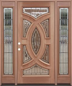 Premium Decorative Glass Mahogany Prehung Wood Exterior Door Unit with Sidelites #A8025-22