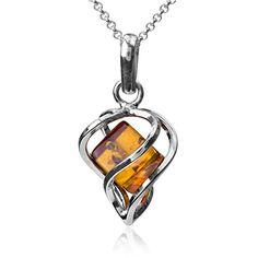 Baltic Honey Amber Sterling Silver Orthodox Cross Pendant Rolo Chain 46cm fwtBL