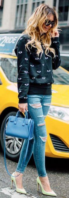 Eye Print Kenzo Sweatshirt, Ripped Jeans, Blue Saint Laurent Bag, Christian Louboutin Pastel Green Pointy Pumps |Casual Chic Winter Street Style |Zorannah