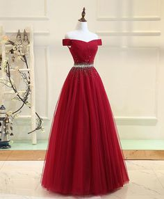 Plus Size Prom Dress, Burgundy tulle off shoulder long prom dress, burgundy evening dress Shop plus-sized prom dresses for curvy figures and plus-size party dresses. Ball gowns for prom in plus sizes and short plus-sized prom dresses Burgundy Formal Dress, Red Formal Dresses, Burgundy Evening Dress, Cheap Prom Dresses, Sexy Dresses, Evening Dresses, Modest Dresses, Formal Wear, Pretty Dresses