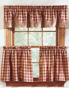 Getting down and rusty with rustic curtains for that antique look Cozy York Lined Point Curtain Valance These would look great in my kitchen. Kitchen Curtains And Valances, Farmhouse Kitchen Curtains, Cafe Curtains, Rustic Kitchen, Vintage Kitchen Curtains, Primitive Kitchen Decor, Check Curtains, No Sew Curtains, Valance Curtains