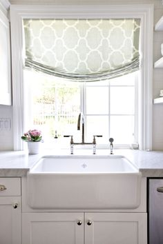 I love this look with the cabinet colors, counters, and the curtain Our Kitchen Before/After — STUDIO MCGEE