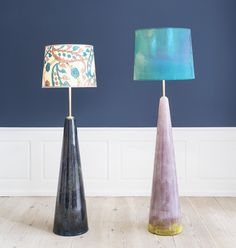 Cathrine Raben Davidsen, 2015, Denmark   Triangle Lamps. Unique glazed ceramic lamp base, brass fitting. Custom made lamp shade in hand painted fabric. Left – H138 x Ø35 cm & right – H148 x Ø40 cm