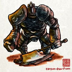 Dark Souls Doodles! Iron Golem — In colour! I'll be making my way through my old illustrations now and adding colour to all of them! I'm still taking suggestions for new Black and White ones, but they will take a back seat to the colour versions. Let...