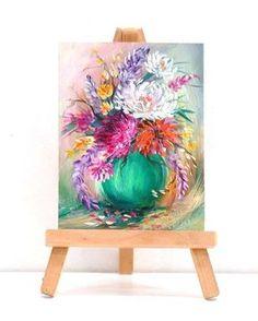 Ramo floral. Arreglo floral miniatura de 3 x 4 pintura