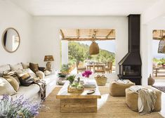 〚 Lovely summer villa with views on the site of old farmhouse in Ibiza 〛#interior #design #home #decor #idea #Inspiration #cozy #living #natural #wood #beige #white #summer Living Room Paint, Living Room Colors, Home Living Room, Living Room Decor, Living Room Trends, Living Room Designs, Ibiza, Simple Living Room, Cozy Living