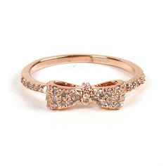 Rose Gold Mini Bow Ring ($17) ❤ liked on Polyvore