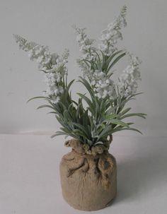 lavender in paper mache pot , nice silk white  lavender