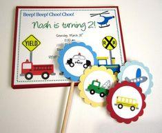 #Transportation Birthday Invitations for Boy Comes Customized | @adorebynat - Cards on ArtFire