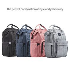 380be7befec20 KiddyCare Diaper Bag Backpack, Multi-Function Waterproof Maternity Nappy  Bags for Travel with Baby, Large Capacity, Durable and Stylish, Gray
