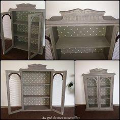 renovation d' une armoire avec peinture liberon et grillage à poule tissus pois beige et blanc