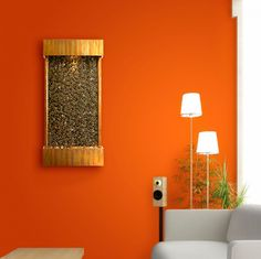 Interior , Indoor Wall Water Fountains Giving Surprising Effect To Home Interior : Indoor Wall Fountain From Bamboo Idea In Striking Orange Walls