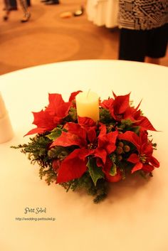 クリスマス装花 クリスマステーブルフラワー