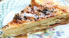 Bint Al Sahn (Yemeni Honey Cake) / flaky layered pastry with honey, melted ghee, and black cumin seeds: recipe