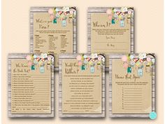 Bird Cage Mason Jars Burlap Bridal Shower Games Package, Printable Bridal Shower Games, Who Am I, Purse Game, Who knows Bride, Would They Rather Game