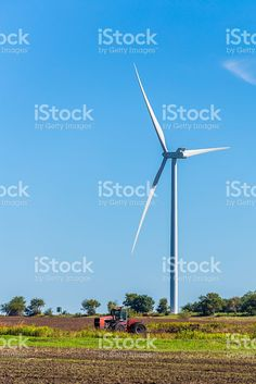 Wind Turbine with Tractor royalty-free stock photo