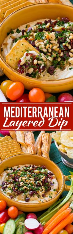 Mediterranean Layered Dip - Starts with a base of whipped feta cheese and is topped with artichokes, olives, sun dried tomatoes and pine nuts. Ready in about 10 minutes, it's the perfect party appetizer!