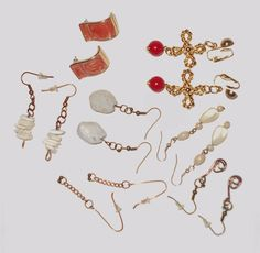 Jewelry lot Artist made and 1980 vintage earrings 7 pairs pierced and clip on