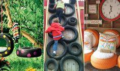 Récupérer des vieux pneus pour en faire des jeux extérieurs!