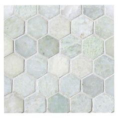 Hexagon pattern moves away from straight lines. Both the honeycomb like Hexagon category and the circular stone Penny Rounds are available in contrasting and blending shades. Stone Mosaic Tile, Marble Mosaic, Mosaic Tiles, Cement Tiles, Tiling, Shower Floor Tile, Bathroom Floor Tiles, Bathroom Green, Downstairs Bathroom