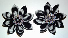 Set of 2 Zebra Print Kanzashi Fabric Flowers by Huffleblossoms, $6.50