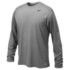 Nike Dri Fit L/S Poly Top Men's Running Clothing - Onyx Heather/Black
