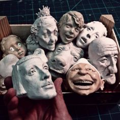 """Ronnie Burkett Theatre of Marionettes. Now that my touring season is over until September, it's back to the studio to design and build new characters. Discovered these unfinished marionette heads from last year as well, so I think this vapid prince may finally get finished and join """"The Happy Ending Players"""", the fairy tale rep company of The Daisy Theatre."""