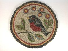 "Red Robin Chair Pad or Table Mat Pattern, 14"" Round, J761 on Etsy, $25.02 CAD"
