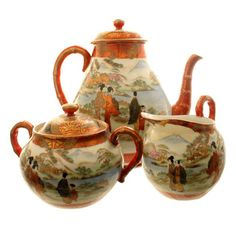 Kutani Japanese porcelain tea set