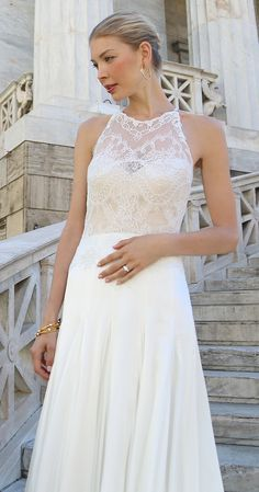 Ohh la la lace! <3 ROSALEE Spring 2017 Lace halter wedding dress with illusion neckline and flowy skirt #KellyFaetanini