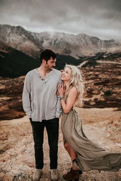 and Danyelle Moody October Engagement Session at Loveland Pass. Josh and Danyelle Dresses For Engagement Pictures, Engagement Photo Dress, Country Engagement Pictures, Mountain Engagement Photos, Engagement Dresses, Engagement Photo Inspiration, Engagement Session, Engagement Photography, Couple Photography