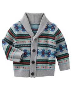 Baby Boy Fair Isle Shawl Collar Cardigan | OshKosh.com