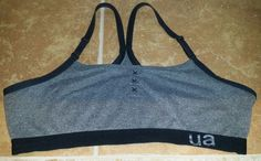 UNDER ARMOUR UA ua Womens Black Gray Grey Racer Back Sports Bra Size Large 36-38 #UnderArmour #SportsBrasBraTops