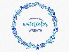Hand painted watercolor wreath, blue, turquoise. Blue watercolor wreath. Wedding clipart download, DIY invitation clipart by ClipartsBoutique on Etsy