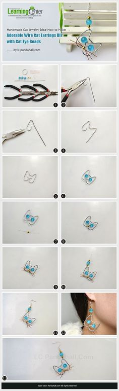Handmade Cat jewelry Idea-How to Make Adorable Wire Cat Earrings DIY with Cat Eye Beads