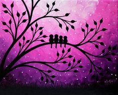 Birds Artwork Family birds on tree art Giclee by SKArtzGallerE