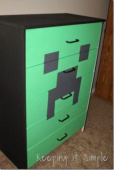 Minecraft Creeper Dresser with DecoArt Chalk Paint Boys Minecraft Bedroom, Minecraft Room Decor, Minecraft Crafts, Mine Minecraft, Bedroom Themes, Kids Bedroom, Bedroom Decor, Bedroom Ideas, Gamer Room