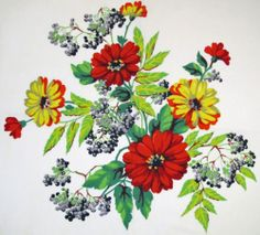 "Vintage RARE Wilendur ""Summer Garden"" Tablecloth Black Currents Red Zinnias 