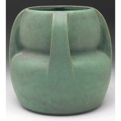 """Teco Pottery - Four-Buttress Gourd Vase, Number 288. Matte Glazed Pottery. Designed by W.B. Mundie. Chicago, Illinois. Circa 1900. 8"""" x 7-1/2""""."""