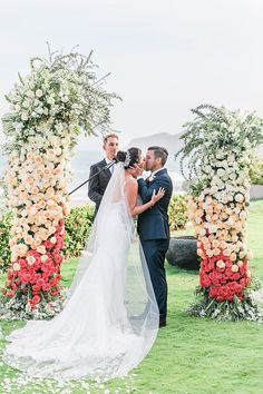 Outdoor wedding ceremony decorations with floral installation | Romantic shot of bride and groom first kiss - Photography: JBJ Pictures | Colorful Cabo Destination Wedding - Belle The Magazine Sophisticated Bride, Fairytale Weddings, Destination Weddings, Dream Wedding, Home Wedding, Wedding Blog, Cabo, Best Bride, Romantic Wedding Photos