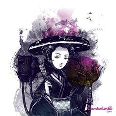 Camiseta 'Gueixa Samurai' - Catalogo Camiseteria.com